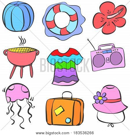 Collection stock summer element doodle set vector art