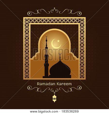 Ramadan kareem - Gold arab window art and masjid at night on brown background vector design