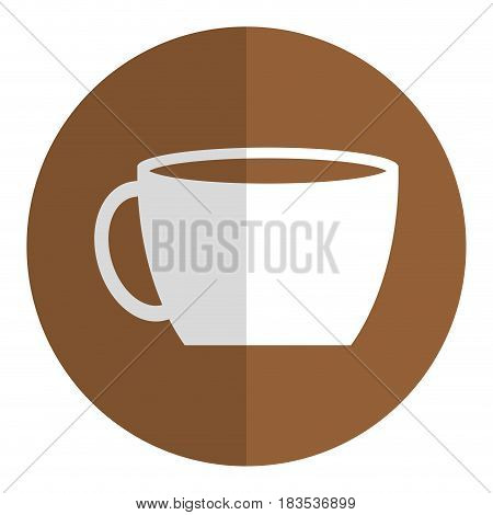 coffee mug icon over brown circle and white background. vector illustration