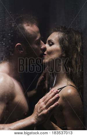 Woman Kissed By A Man During Romantic Shower