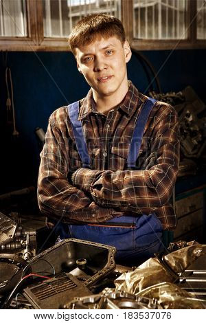 Mechanic. Auto repair service. Photo in old image vintage style