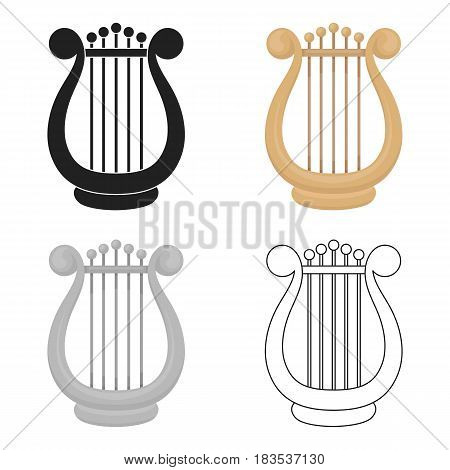 Harp icon in cartoon style isolated on white background. Theater symbol vector illustration