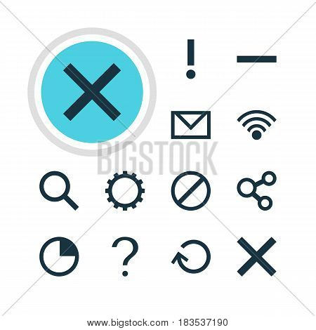Vector Illustration Of 12 Interface Icons. Editable Pack Of Help, Wrong, Cordless Connection And Other Elements.