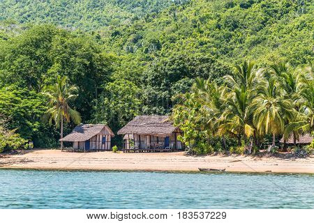 Nosy Be Madagascar - December 19 2015: Lokobe Strict Reserve beach view in Nosy Be Madagascar. It is known for its black lemurs and the beautiful Nosy Be panther chameleon.