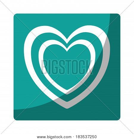 heart icon over  blue square and white background. vector illustration