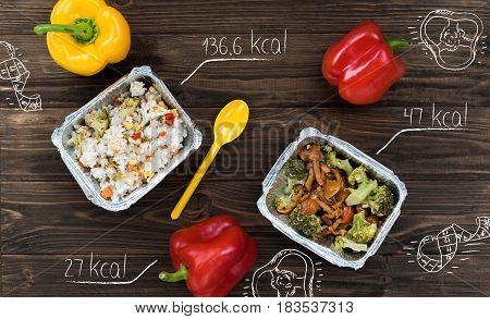 Maintain diet. Flat lay of rice and stewed vegetables with bell pepper on the table