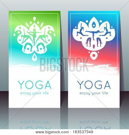 Vector yoga cards with girls in yoga poses ethnic indian ornament and sample text on a gradient background for use as a template of banner poster for Yoga day invitation for yoga studio or retreat.