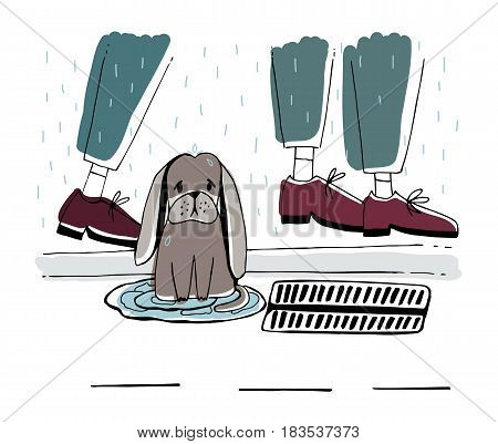 The stray dog at street. Homeless puppy with sad look under rain. Hand drawn vector illustration