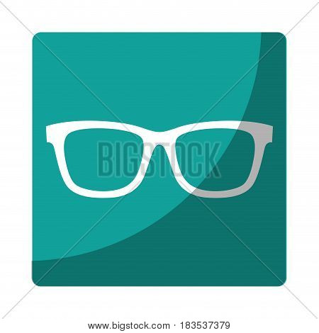 glasses accessory icon over blue square and white background. vector illustration
