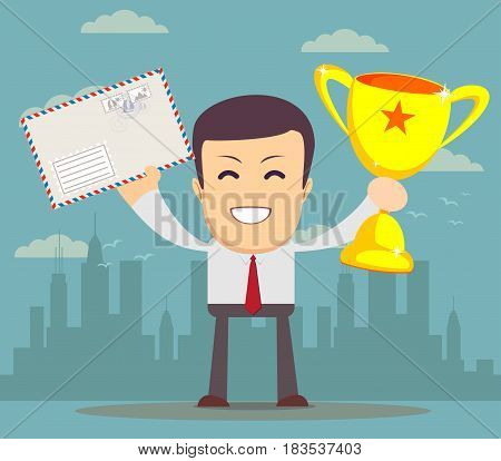 The student entered college. Stock vector illustration for poster, greeting card, website, ad, business presentation, advertisement design.