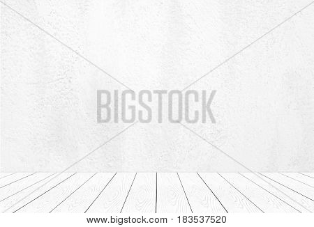 Perspective white wood over cement wall background room table interior design product display montage vintage style