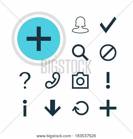 Vector Illustration Of 12 Member Icons. Editable Pack Of Seek, Downward, Access Denied And Other Elements.