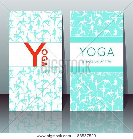 Vector yoga cards with girls in yoga poses and sample text for use as a template of banner poster for Yoga day invitation for yoga center studio or retreat.