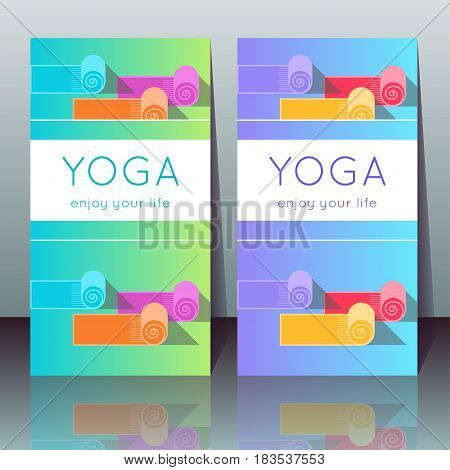 Vector yoga cards with yoga mats sample text on a gradient background for use as a template of banner poster for Yoga day invitation for yoga center studio or retreat.