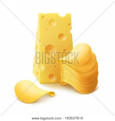 Vector Potato Crispy Chips Stack with Cheese Close up Isolated on White Background