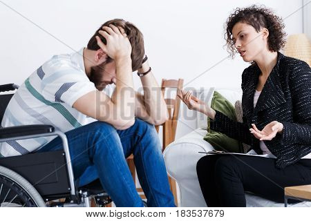 Disabled Patient During Indoor Psychotherapy