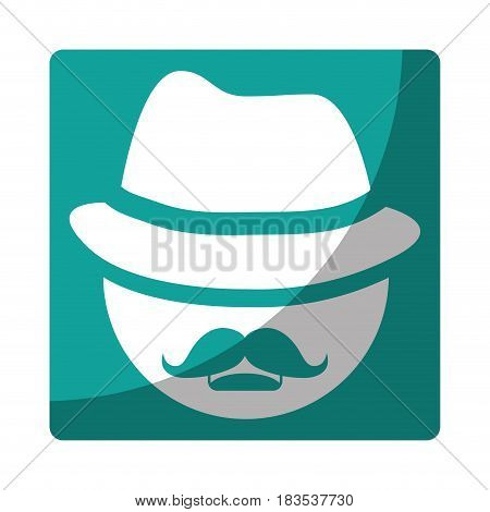 man with hat and mustache icon over blue square and white background. vector illustration
