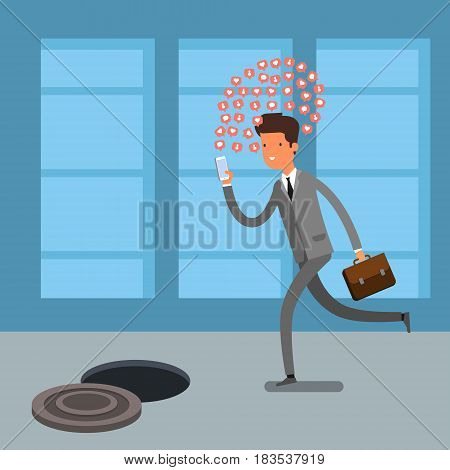 Concept of Smartphone addiction. Businessman walking on the street, looking at the screen of his phone. Flat design, vector illustration.