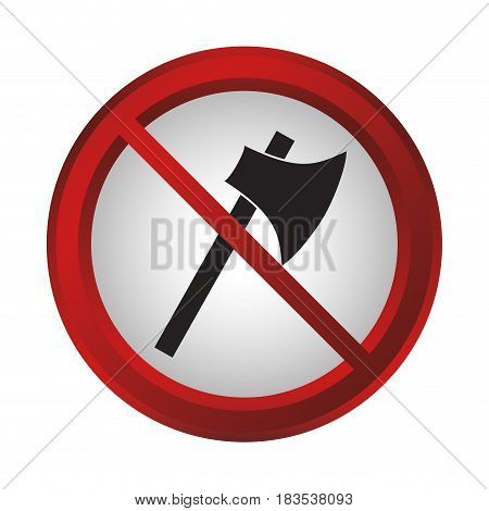 no axe sign icon over white background. colorful design. vector illustration