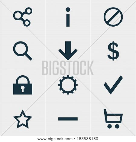 Vector Illustration Of 12 Interface Icons. Editable Pack Of Downward, Seek, Padlock And Other Elements.