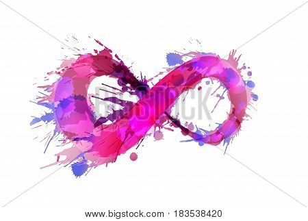 Infinity symbol made of colorful grunge splashes