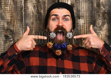 Bearded Man, Brutal Caucasian Amused Hipster With Gift Decoration Stars