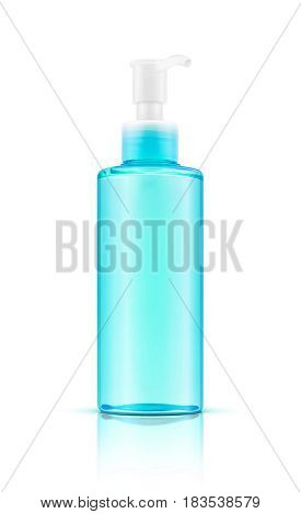 blank packaging transparent blue cosmetic pump bottle isolated on white background with clapping path
