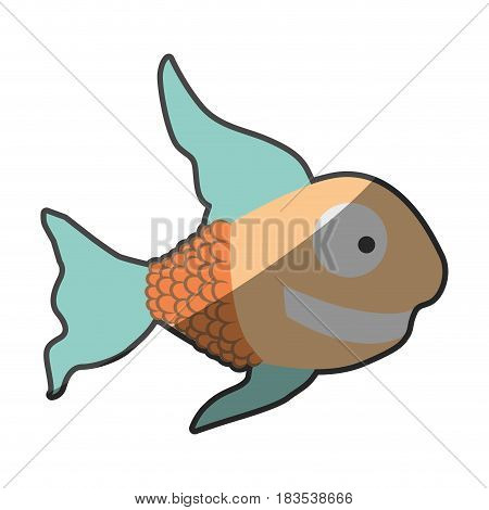 silhouette multicolor pastel of fish with long fins vector illustration