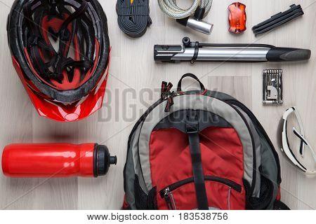 Photo top of biker accessories