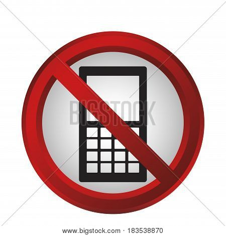 forbidden phones sign icon over white background. colorful design. vector illustration