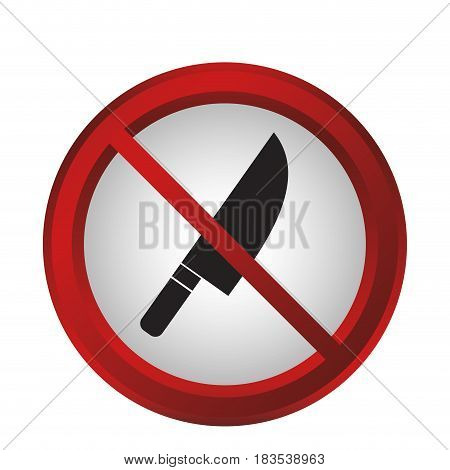 forbidden knife sign icon over white background. colorful design. vector illustration