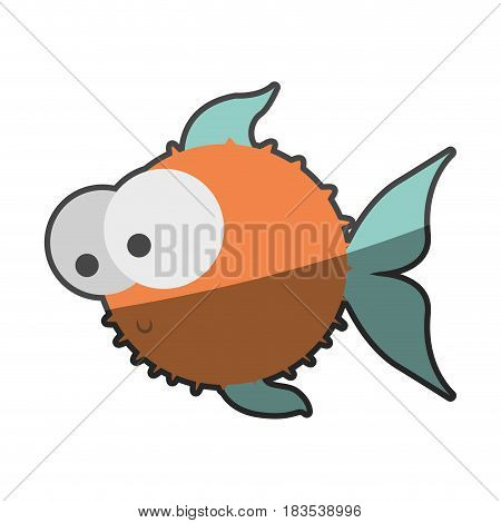 silhouette multicolor pastel of blowfish with big eyes vector illustration