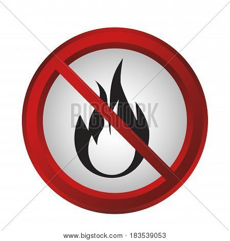 forbidden fire sign icon over white background. colorful design. vector illustration