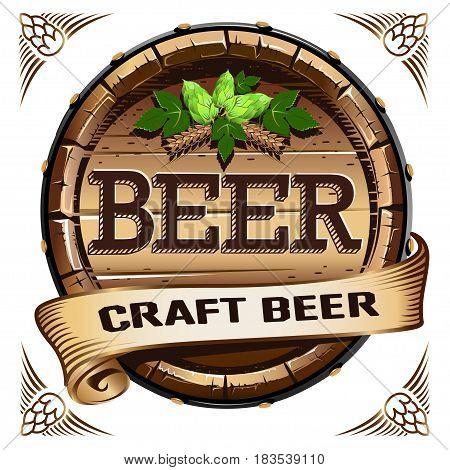 Craft beer. Beer barrel label.  Colored Vector illustration.