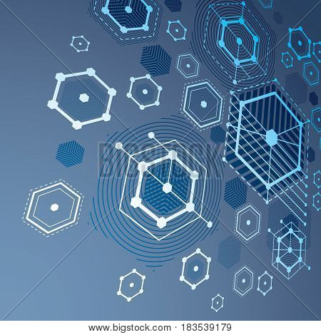 3d vector Bauhaus abstract blue background made with grid and overlapping simple geometric elements hexagons and lines. Retro style artwork graphic template for advertising poster.