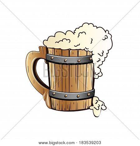Old wooden mug of beer. Vector illustration