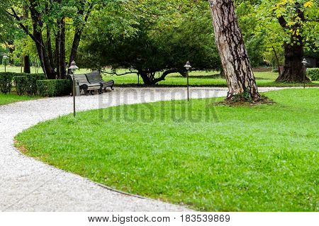 The path of white gravel in the park along the gravel path, garden shrubs, white trees