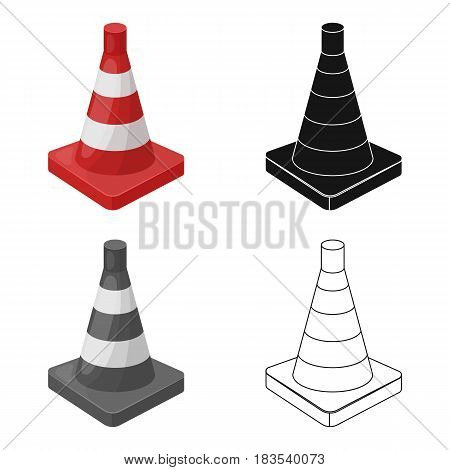 Traffic cone icon in cartoon design isolated on white background. Police symbol stock vector illustration.