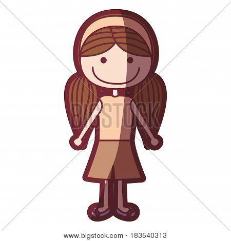 color silhouette shading cartoon pigtails hair girl with shirt and skirt vector illustration