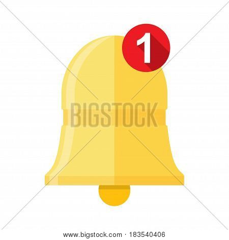 New Notification Icon, hand bell sign, isolated on white background, flat style - Vector illustration