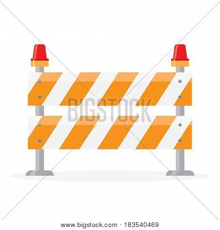Road barrier, barricade. Road block with signal lamp, on a white background.