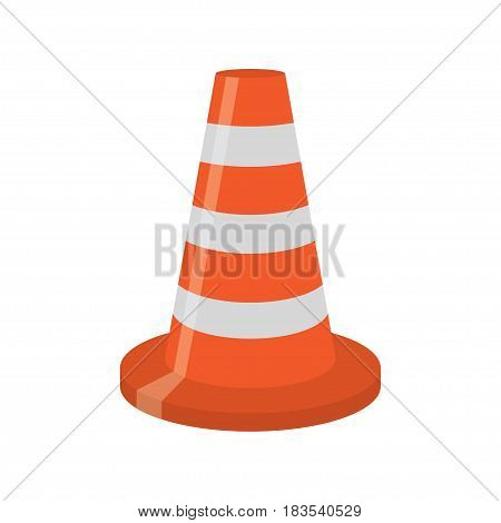 orange road cone with white lines, isolated on white background