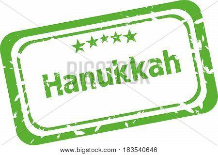 Hanukkah Grunge Rubber Stamp Isolated On White Background