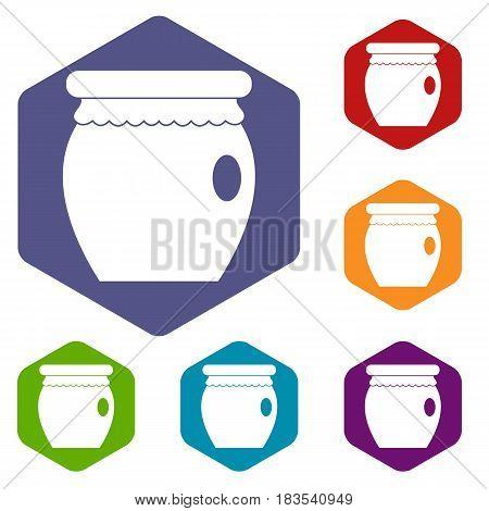 Honey bank icons set hexagon isolated vector illustration