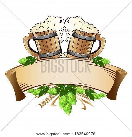 Wooden beer mugs still life. Vector illustration.