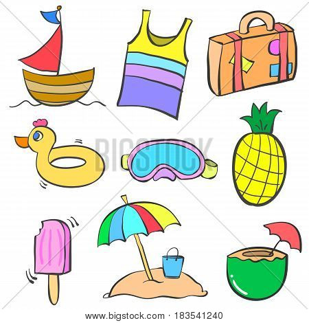 Collection stock summer object doodle set vector art