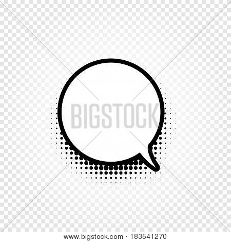 Isolated abstract black and white color comic speech balloon icon on checkered background, dialogue box sign, dialog frame vector illustration.