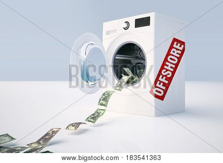 Concept of money laundering money jump into the washing machine. 3D illustration