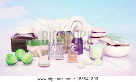 Spa and wellness setting with natural soap candle and towel. 3D illustration
