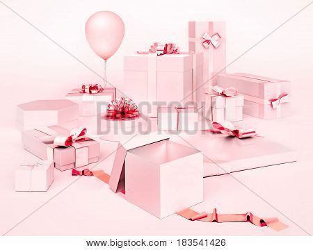 White boxes with gifts and pink bows balloon isolated on light pink background. 3D illustration
